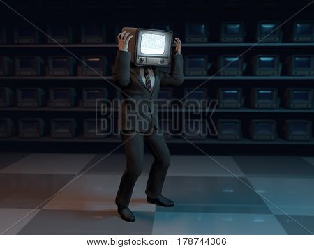 media zombie who has lost control, 3d illustration