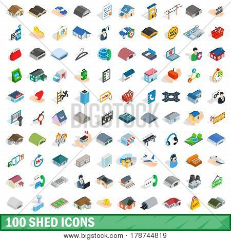 100 shed icons set in isometric 3d style for any design vector illustration