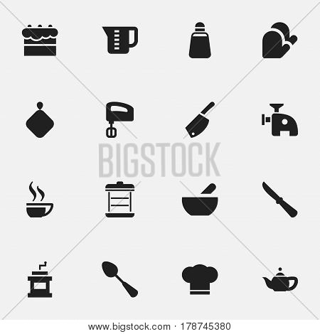Set Of 16 Editable Cook Icons. Includes Symbols Such As Backsword, Agitator, Tablespoon And More. Can Be Used For Web, Mobile, UI And Infographic Design.