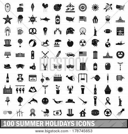 100 summer holidays icons set in simple style for any design vector illustration