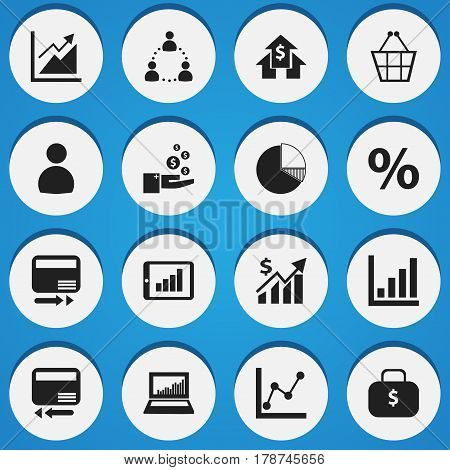 Set Of 16 Editable Statistic Icons. Includes Symbols Such As Money Bag, Statistic, Bar Chart And More. Can Be Used For Web, Mobile, UI And Infographic Design.