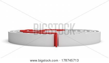 3d rendering of a white round maze with a red arrowed line showing the way out. Secrets and mysteries. Puzzles and problems. Questions and answers.