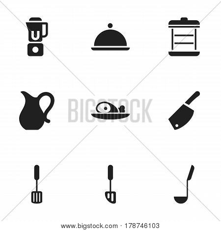 Set Of 9 Editable Food Icons. Includes Symbols Such As Meat, Soup Spoon, Salver And More. Can Be Used For Web, Mobile, UI And Infographic Design.