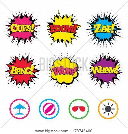Comic Wow, Oops, Boom and Wham sound effects. Beach holidays icons. Ball, umbrella and sunglasses signs. Summer sun symbol. Zap speech bubbles in pop art. Vector