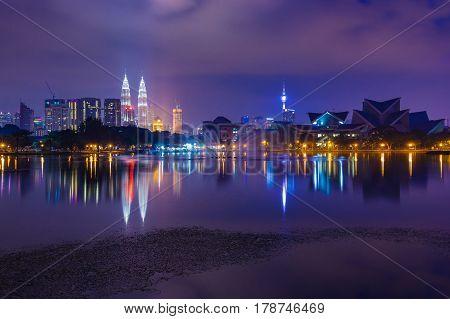 Kuala Lumpur skyline at night as seen from Titiwangsa Lakes Kuala Lumpur Malaysia