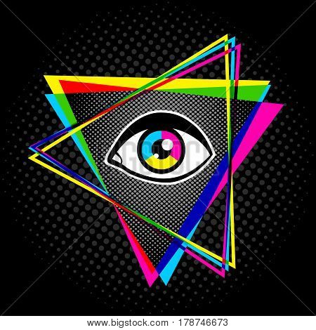 Vintage pyramid with eye in 90's style. Vintage poster with pyramid and eye