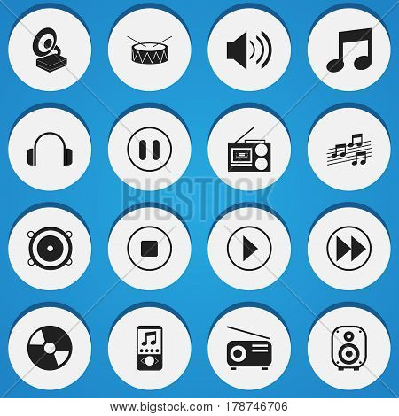 Set Of 16 Editable Multimedia Icons. Includes Symbols Such As Start Audio, Rewind, Stop And More. Can Be Used For Web, Mobile, UI And Infographic Design.