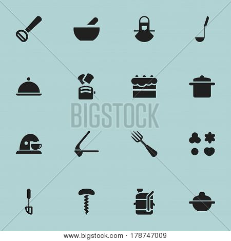 Set Of 16 Editable Food Icons. Includes Symbols Such As Salver, Crusher, Slice Bread And More. Can Be Used For Web, Mobile, UI And Infographic Design.