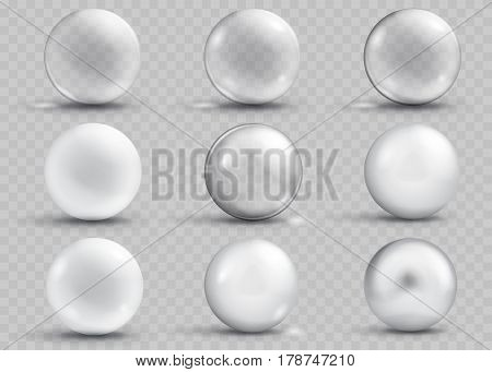 Set Of Transparent And Opaque Gray Spheres With Shadows