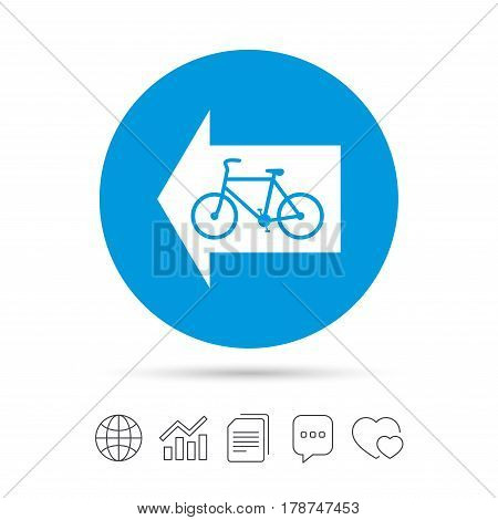 Bicycle path trail sign icon. Cycle path. Left arrow symbol. Copy files, chat speech bubble and chart web icons. Vector