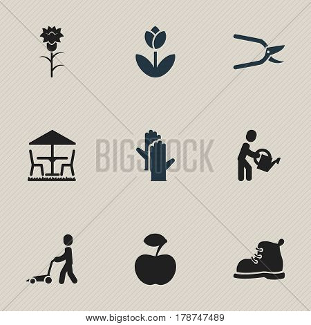 Set Of 9 Editable Gardening Icons. Includes Symbols Such As Fresh Fruit, Working Gloves, Beauty Flower And More. Can Be Used For Web, Mobile, UI And Infographic Design.