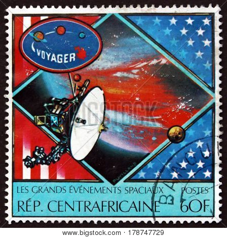 CENTRAL AFRICAN REPUBLIC - CIRCA 1980: a stamp printed in Central African Republic shows Voyager Spacecraft circa 1980