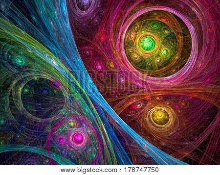 Sci-fi, cosmos or mystic background - abstract computer-generated image. Bright chaos circles and curves. Backdrop for tech or esoteric design projects.