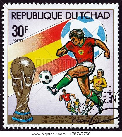 CHAD - CIRCA 1982: a stamp printed in Chad shows Hungary 1982 World Cup Soccer Championships Spain circa 1982