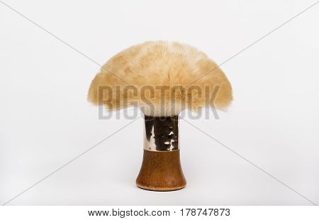 a brush used by hairdressers to shake off hairs, white isolated closeup