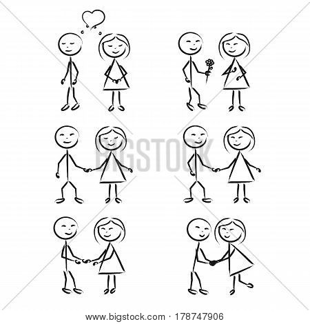 Stick Figure of a boy and girl in motion