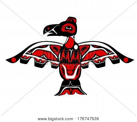 totem bird indigenous art stylization on white background with native ornament