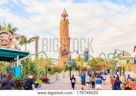 ORLANDO USA - JANUARY 05 2017: Adventure Island of Universal Studios Orlando. Universal Studios Orlando is a theme park resort in Orlando Florida.