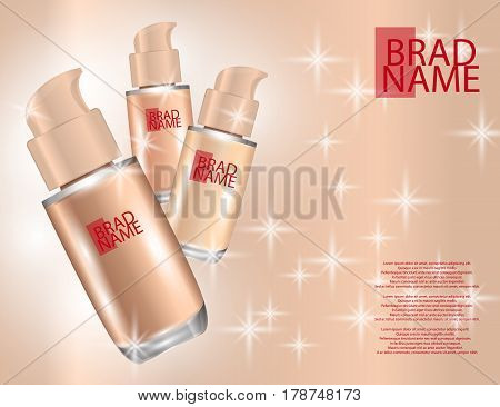 Realistic bottles for foundation cream on sparkling background. Mock-ups of glass containers. Blank template of packaging for cosmetic product. Vector illustration