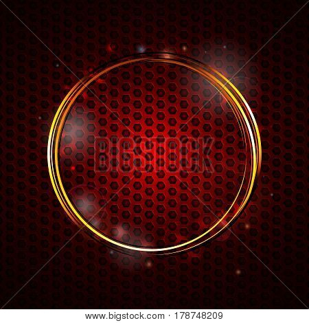 Golden Glowing Ring Over Red Metallic Honeycomb Background