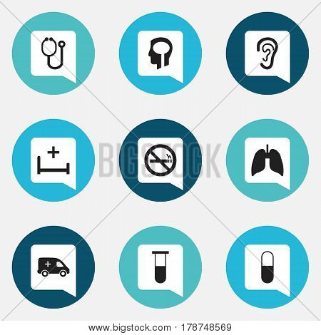 Set Of 9 Editable Clinic Icons. Includes Symbols Such As Doctor Tool, Respiratory Organ, Listen And More. Can Be Used For Web, Mobile, UI And Infographic Design.