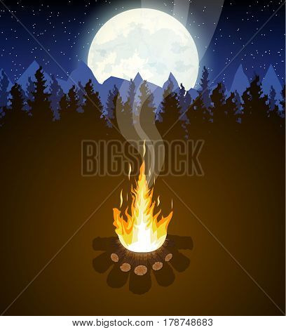 Meadow with campfire in night. Bonfire, mountains, trees, sky, moon and stars. Vector illustration in flat style