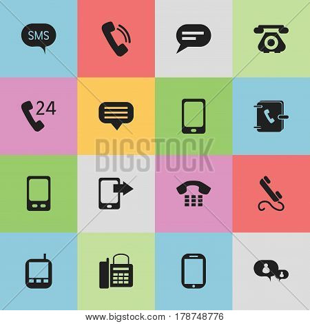 Set Of 16 Editable Gadget Icons. Includes Symbols Such As Office Telephone, Call, Tablet And More. Can Be Used For Web, Mobile, UI And Infographic Design.