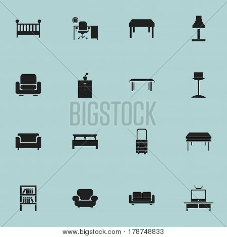Set Of 16 Editable Interior Icons. Includes Symbols Such As Wall Mirror, Recliner, Glim And More. Can Be Used For Web, Mobile, UI And Infographic Design.