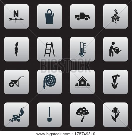 Set Of 16 Editable Plant Icons. Includes Symbols Such As Fruit Woods, Handcart, Stairway. Can Be Used For Web, Mobile, UI And Infographic Design.