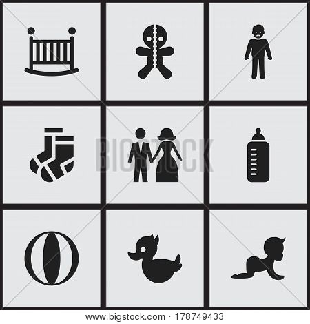 Set Of 9 Editable Kin Icons. Includes Symbols Such As Married, Kid, Wizard And More. Can Be Used For Web, Mobile, UI And Infographic Design.
