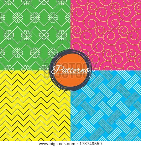 Braid weave, floral ornate and vintage ornament seamless textures. Linear geometric patterns. Modern textures. Abstract patterns with colored background. Vector