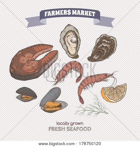 Vintage fish steak, oyster and mussel hand drawn sketch. Great for markets, grocery stores, organic shops, food label design.