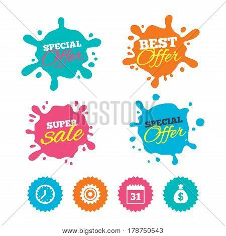 Best offer and sale splash banners. Business icons. Calendar and mechanical clock signs. Dollar money bag and gear symbols. Web shopping labels. Vector