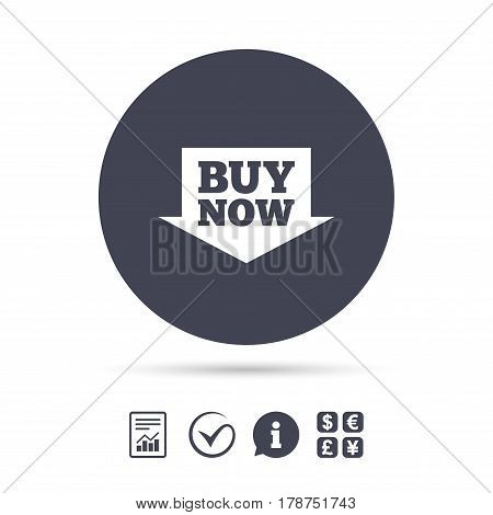 Buy now sign icon. Online buying arrow button. Report document, information and check tick icons. Currency exchange. Vector