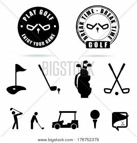 Golf Black Icon And Symbol Vector