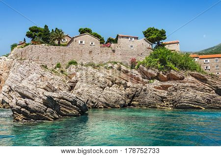 Sveti Stefan island. Resort near Budva Montenegro. Balkans Adriatic sea Europe.