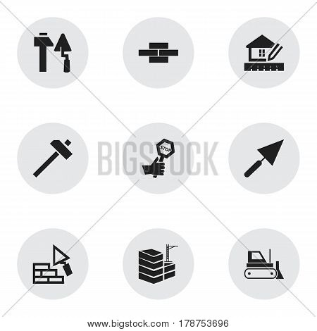 Set Of 9 Editable Structure Icons. Includes Symbols Such As Building, Hammer, Plastering And More. Can Be Used For Web, Mobile, UI And Infographic Design.