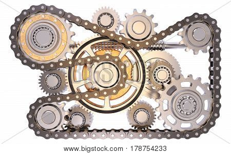 Gears with chain isolated on white background 3D rendering