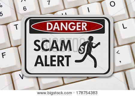 Scam alert danger sign A black and white danger sign with text Scam Alert and theft icon on a keyboard 3D Illustration