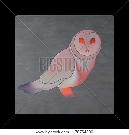 Vintage mystical picture owl in scarlet colors on black background. Burgundy silk drape flowing like blood.