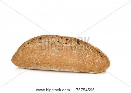 closeup of an unsalted bread roll on a white background