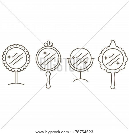 Four mirrors in the style of the outline. Vector illustration.