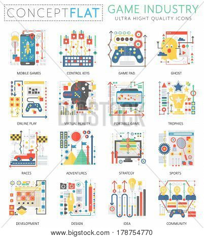 Infographics mini concept Game industry icons for web. Premium quality color conceptual flat design web graphics icons elements. Game industry technology concepts