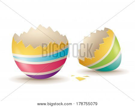 cracked colorful stripes egg . Illustration on a white background