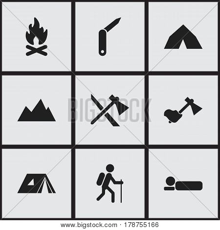 Set Of 9 Editable Travel Icons. Includes Symbols Such As Clasp-Knife, Ax, Bedroll And More. Can Be Used For Web, Mobile, UI And Infographic Design.