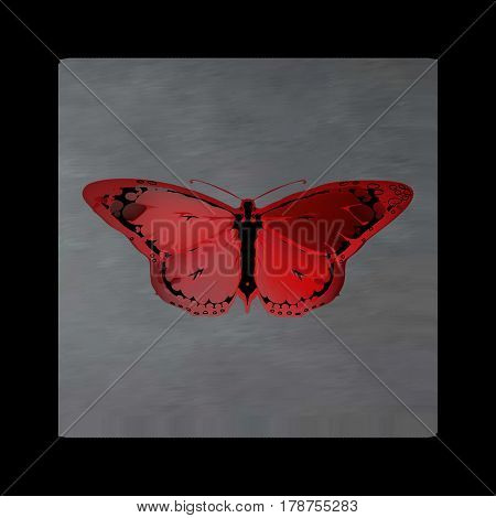 Vintage mystical picture butterfly in scarlet colors on black background. Burgundy silk drape flowing like blood.