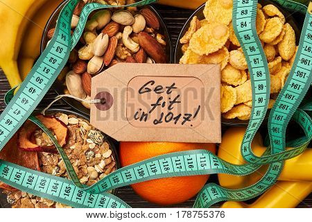 Label, fruits, nuts and dumbbells. Get what you want.