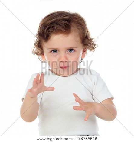 Funny baby giving a scare isolated on a white background