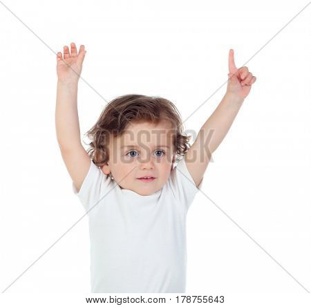 Adorable baby with his hands raised asking for the word isolated on a white background