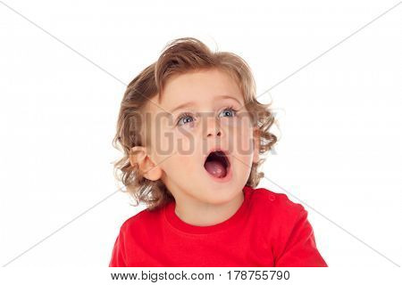 Tired baby opening his mouth isolated on a white background